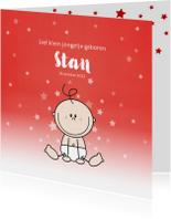 Geboortekaart stoere rood kleurige kaart met baby en sterren