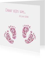Geboortekaart tweeling voetjes meisjes