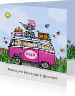 Geboortekaart VW bus babyzusje klant