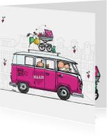 Geboortekaart vw busje roze klant