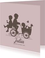 Geboortekaartje bakfiets met kinderen