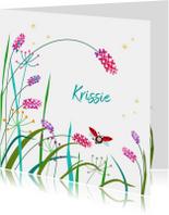 Geboortekaartjes - Geboortekaartje bloemen met lieveheersbeestje