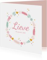 Geboortekaartjes - Geboortekaartje cirkel van takjes, bloemen en harten