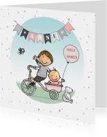 Geboortekaartje fiets bakje broer met zusje