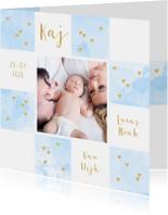Geboortekaartje foto aquarel vakjes lichtblauw