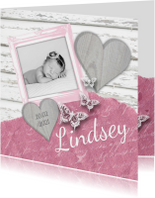Geboortekaartje fotolijstje vlinders hartjes roze