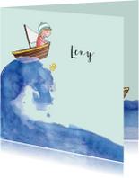 Geboortekaartjes - Geboortekaartje getekend bootje op zee blond meisje