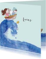 Geboortekaartje getekend bootje op zee broertje