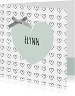 Geboortekaartjes - Geboortekaartje groen hartje