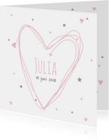 Geboortekaartjes - Geboortekaartje hart Julia