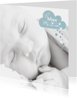 Geboortekaartjes - Geboortekaartje hip foto raket