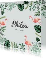 Geboortekaartje hip met flamingo's en bladeren