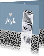 Geboortekaartje hip panterprint grijs fotostrip