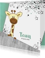 Geboortekaartjes - Geboortekaartje hip stoer kaartje met giraffe en sterren