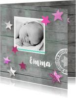 Geboortekaartje hout Emma