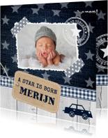 Geboortekaartje jongen foto sterren label