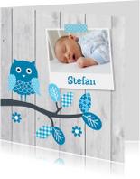 Geboortekaartje jongen foto uil hout