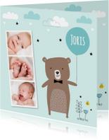 Geboortekaartje jongen fotocollage beertje