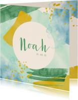 Geboortekaartjes - Geboortekaartje jongen waterverf groen, blauw en geel