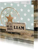 Geboortekaartjes - Geboortekaartje Liam sterren hout- LO