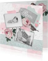 Geboortekaartje lief foto's, rozen en vogeltje