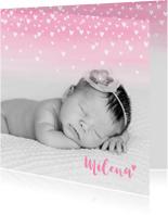 Geboortekaartjes - Geboortekaartje lief hartjes aquarel foto roze