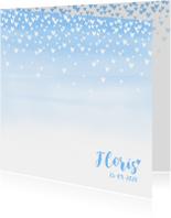 Geboortekaartje lief hartjes aquarel lichtblauw