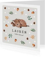 Geboortekaartje lief herfst winter met hertje en eekhoorn