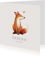 Geboortekaartje lief met geïllustreerd vosje