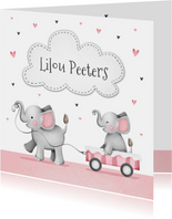 Geboortekaartje lief zusje olifantjes en hartjes