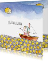 Geboortekaartjes - Geboortekaartje meisje bootje bloemenzee
