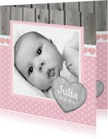 Geboortekaartje Meisje Hout Roze