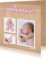 Geboortekaartje meisje met kraft achtergrond en hartjes