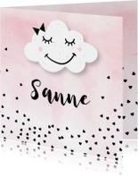 Geboortekaartje meisje wolk hartjes
