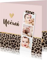 Geboortekaartje panterprint fotostrip hartje