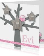 Geboortekaartje roze uiltje boom