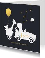 Geboortekaartje silhouet auto met aanhangwagen