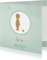 Geboortekaartje silhouet jongen groen aquarel - BC
