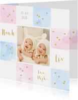 Geboortekaartje tweeling foto aquarel vakjes roze en blauw