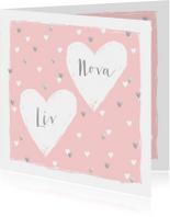 Geboortekaartje tweeling hartjes roze zilver