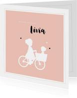 Geboortekaartje vierkant silhouet bakfiets zus met zusje