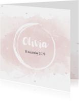 Geboortekaartje voor meisjes met waterverf en roze hartjes