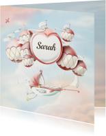 Geboortekaartjes - Geboortekaartje wiegje aan ballonnen vintage kleuren meisje
