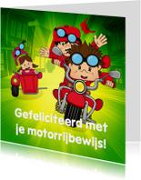 Geslaagd kaarten - Gefeliciteerd geslaagd rijbewijs motor