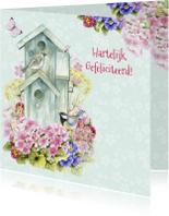 Verjaardagskaarten - Gefeliciteerd vogelhuisje vogels