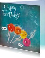 Verjaardagskaarten - Gekke vissen die iemand een fijne verjaardag wensen