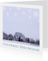 Gelukkig Nieuwjaar winters landschap