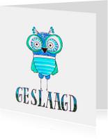 Geslaagd kaarten - Geslaagdkaart uiltje blauw