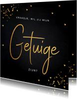 Trouwkaarten - Getuige kaart goud confetti