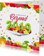 Nieuwjaarskaarten - Gezond 2019 nieuwjaarskaart met fruit
